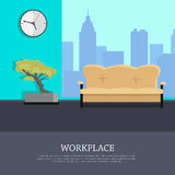 Workplace Vector Concept in Flat Style Design Stock Image