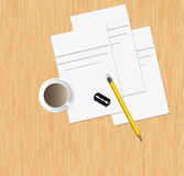 Workplace.Vector illustration. Coffee sketch table Stock Image