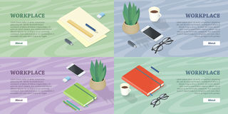 Workplace Web Banners Set in Isometric Projection Stock Photos