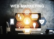Workplace with web marketing screen Royalty Free Stock Photo