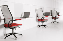Workplace in white 3d Stock Photos