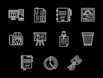Workplace white line icons set. Abstract symbols of office workplace accessories and equipment. Desktop, attached files, organizer and other elements. Set of Royalty Free Stock Photos