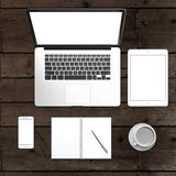 Workplace on wooden floor Royalty Free Stock Photo