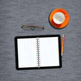 Workplace2. Work desk with notebook, plain paper and coffeecup Royalty Free Stock Photos