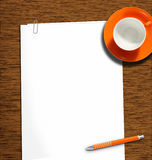 Workplace3. Work desk with plain paper and coffeecup Royalty Free Stock Image