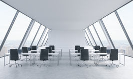 Workplaces in a bright modern open space loft office. White tables and black chairs. New York panoramic view in the windows. 3D re Royalty Free Stock Photo