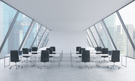 Workplaces in a bright modern open space loft office. White tables and black chairs. Singapore panoramic view in the windows. 3D r. Endering Royalty Free Stock Photo