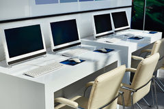 Workplaces with computers for company employees. Modern workplaces with computers for company employees Royalty Free Stock Images