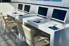 Workplaces with computers for company employees. Modern workplaces with computers for company employees Stock Image