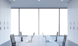 Workplaces or conference area in a bright modern open space office.  Royalty Free Stock Photos