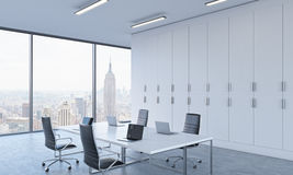 Workplaces or conference area in a bright modern open space office. royalty free illustration