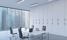 Workplaces or conference area in a bright modern open space office. stock illustration