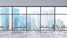 Workplaces in a modern panoramic office, Singapore city view. Open space. Black tables and brown leather chairs. A concept of financial consulting services. 3D Royalty Free Stock Photo