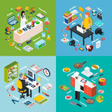 Workplaces Professions 2x2 Isometric Compositions. Isometric 2x2 compositions presenting different professions workplaces scientist reporter engineer and cook Royalty Free Stock Photography