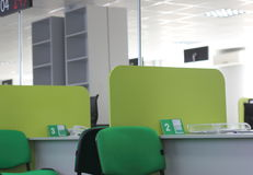 Workplaces in a row. Workplaces for receiving customers in the bank abreast. soft focus. blur Stock Photo