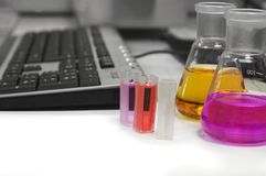 Workplase in laboratory Royalty Free Stock Image