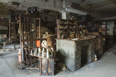 Workroom in abandoned factory Royalty Free Stock Photography