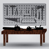 Workroom with hand tools and workbench eps10 Stock Photography