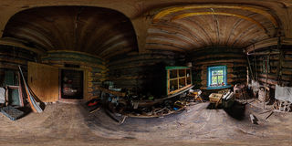 Workroom in wooden house interior pano. Wooodwork room spherical 360x180 degree panorama with lot of scrap and tools Royalty Free Stock Images