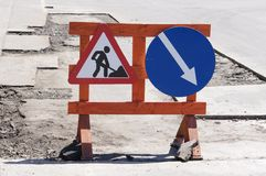 Free Works Ahead Warning Sign Royalty Free Stock Photography - 19814147