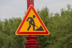 Works ahead warning sign Stock Photography