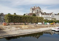 Works, arrangement quays of the Yonne river to Auxerre Stock Photo
