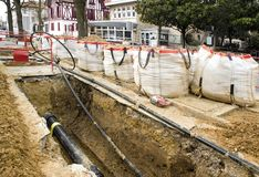 Works of burying of cables. Put in correspondence or modernization electricity or internet network (France stock photo