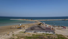 Works for coastal protection in Constanta, Romania Royalty Free Stock Image