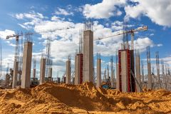 Works on the construction site stock image