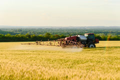 Works in the fields. Spraying chemicals and fertilizing wheat. Stock Photos