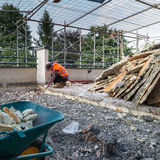 Works of insulation and waterproofing terrace - roof royalty free stock image