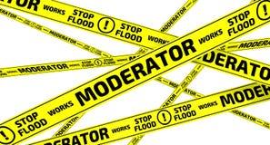 Works moderator. Stop flood. Yellow warning tapes Royalty Free Stock Photos