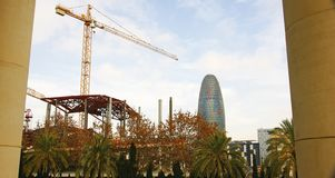 Works of the New Encantes or Fira de Bellcaire with Agbar tower in Barcelona. Catalunya, Spain royalty free stock image