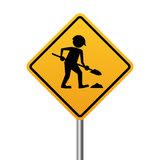 Works in progress yellow sign Royalty Free Stock Photography