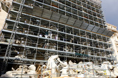 Works of restructuring of the Trevi fountain in Rome Stock Photo