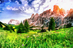 The works in the style of watercolor painting. Beautiful views o. F the mountains in the Alpsr stock image
