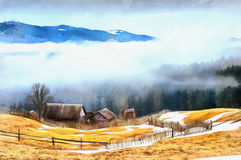 The works in the style of watercolor painting. Chalet in the mou. Ntains royalty free illustration