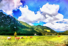 The works in the style of watercolor painting. Cows on pasture. Royalty Free Stock Photography