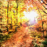 The works in the style of watercolor painting. Forest Road in th Royalty Free Stock Photography