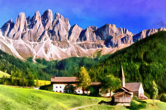 The works in the style of watercolor painting. Panoramic view vector illustration