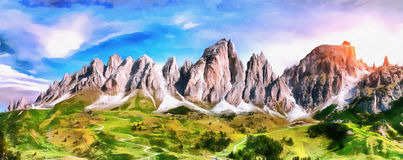The works in the style of watercolor painting. Rocky Mountains a Stock Image