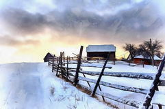 The works in the style of watercolor painting. Winter landscape. With snow in mountains Carpathians, Ukraine stock images