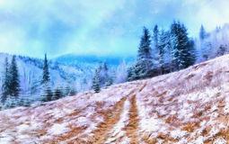 The works in the style of watercolor painting. Winter landscape. Trees in frost royalty free stock photography