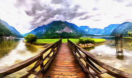 The works in the style of watercolor painting. Wooden bridge ove Stock Images