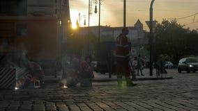 Works on tram rails in Prague stock video footage