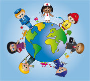 Works in the world. Illustration with representing various work activities in the world Stock Image