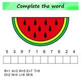 Worksheet dla dzieciaków Słowa intrygują edukacyjną grę dla dzieci Umieszcza listy w prawym rozkazie royalty ilustracja
