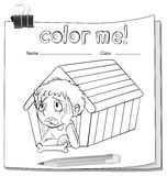 A worksheet with a doghouse and a boy Royalty Free Stock Photos
