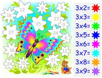 Worksheet with exercises for children with multiplication by three. Vector cartoon image. Scale to any size without loss of resolution Royalty Free Stock Images