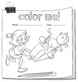 A worksheet with a girl and a cat Royalty Free Stock Photos